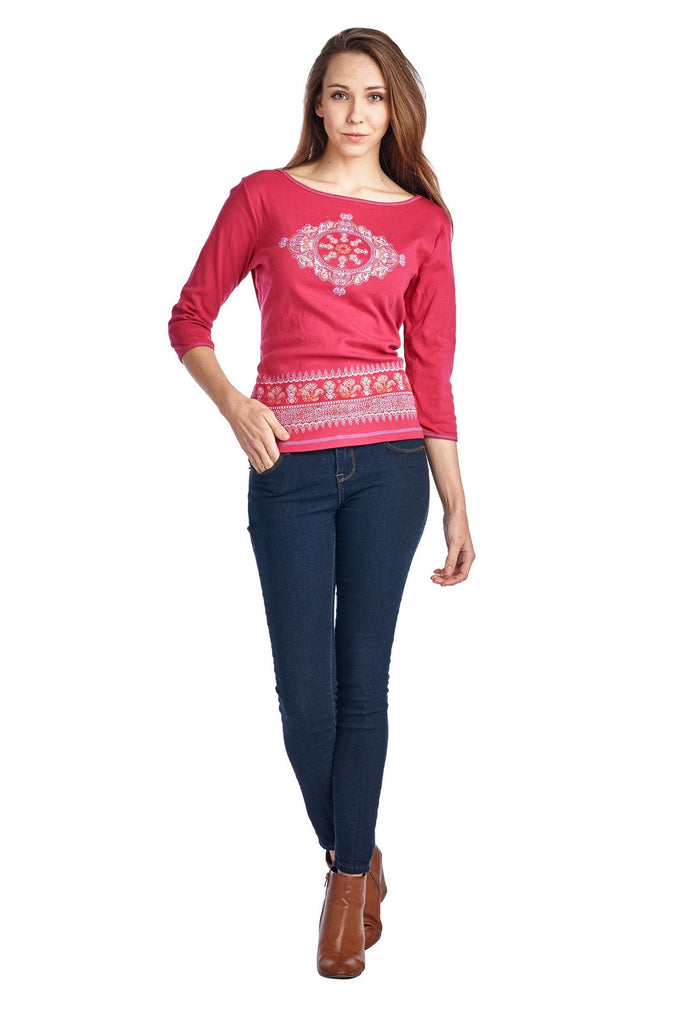 Urban Love Long Sleeve Open Tie Back Screened Top - WholesaleClothingDeals - 1