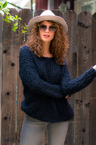 Women's Fuzzy Chunky Cable Knit Sweater