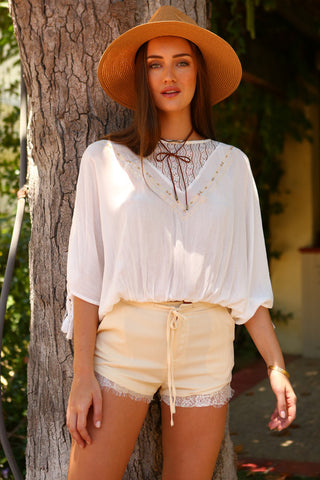 Women's Loose Boho Top with Back Slit