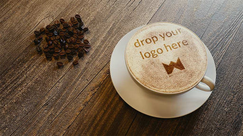 Cappuccino cup with your image sprinkled in chocolate online mockup
