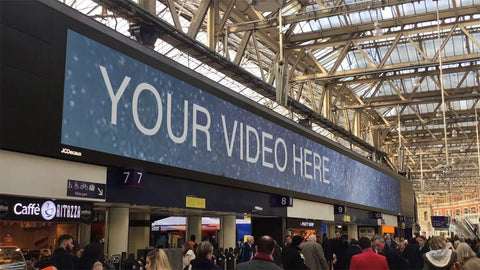 JCDecaux Motion Display Waterloo Station Video Mockup