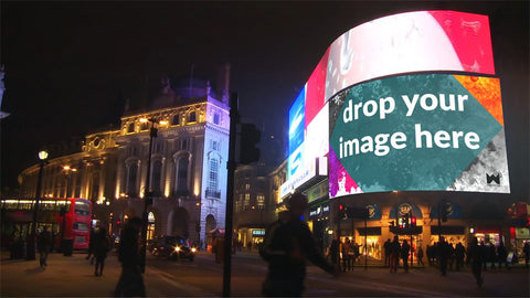 London Piccadilly Circus Video Screen at Night Still image mockup
