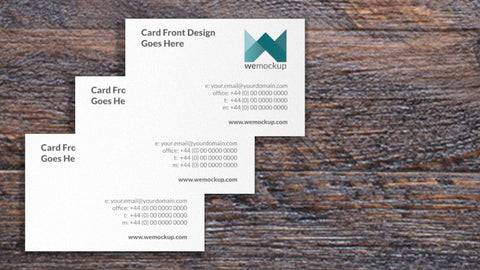 MOO Luxe Business Card Mockup Montage On Wooden Desk Closeup 3