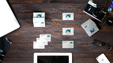 MOO Luxe Business Card Mockup Montage on wooden desk