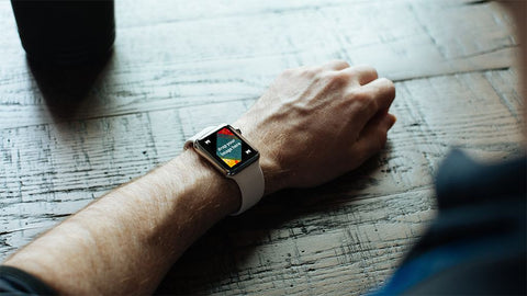 iWatch Smartwatch Mockup white strap on arm resting on textured table highlights