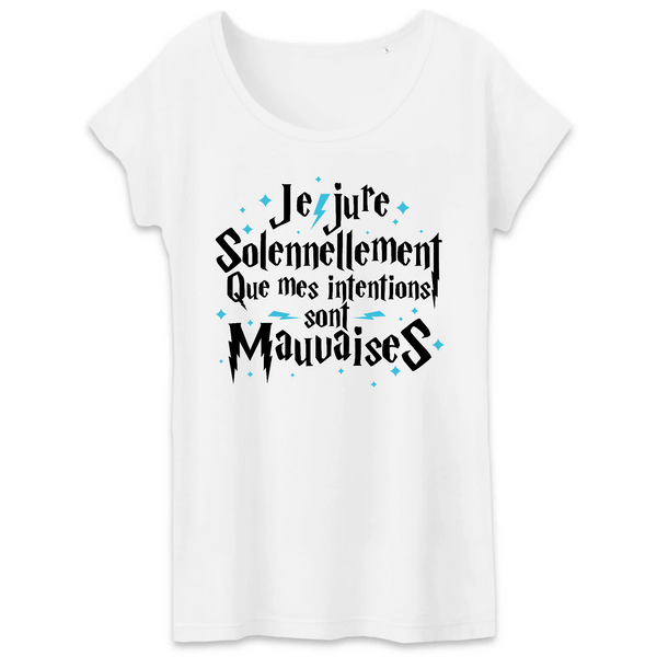 T-shirt Femme 100% coton BIO Harry Potter Je jure solennellement intentions mauvaises