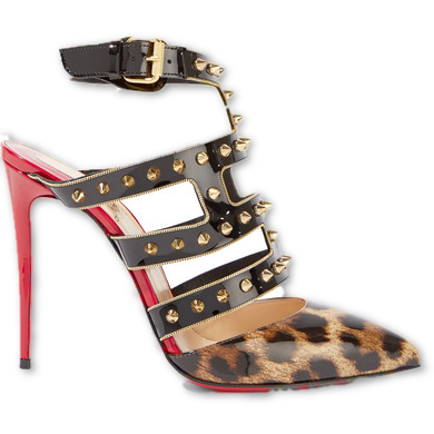 CHRISTIAN LOUBOUTIN Tchicaboum 100 spiked leopard-print patent-leather pumps - wardrobecult