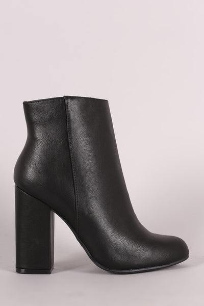 Bamboo Almond Toe Chunky Heeled Booties