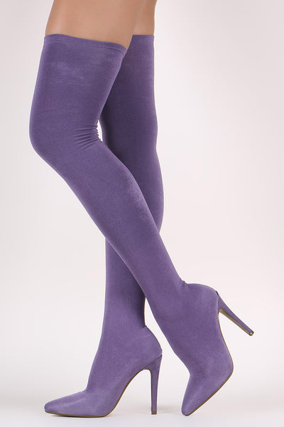 Stretched Knit Pointy Toe Sock Stiletto Over-The-Knee Boots - wardrobecult