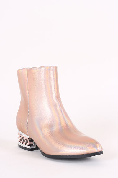 Bamboo Holographic Metallic Chain Heeled Booties