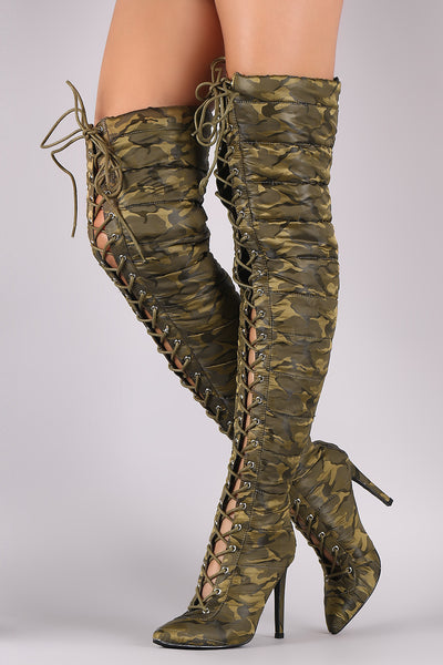 Camouflage Quilted Puffer Lace-Up Stiletto OTK Boots - wardrobecult