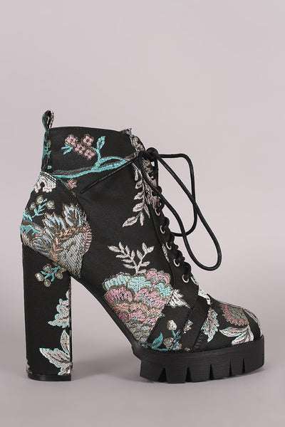 Floral Brocade Combat Lace-Up Lug Sole Chunky Heeled Booties - wardrobecult