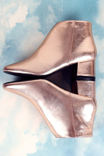 Qupid Metallic Block Heel Booties