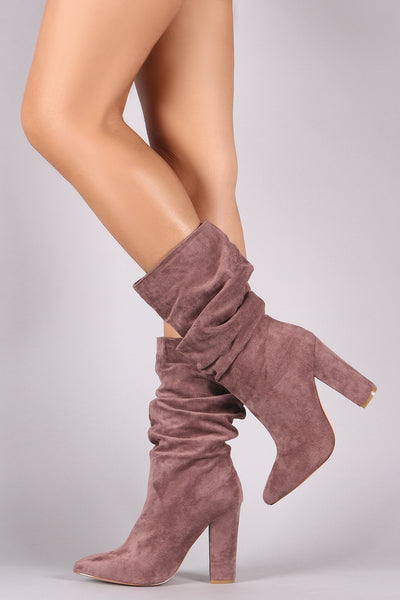 Pointy Toe Slouchy Mid Calf Chunky Heel Boots
