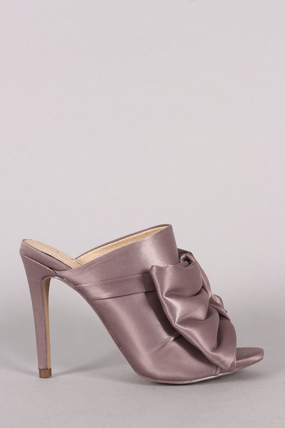 Liliana Oversized Satin Bow Peep Toe Mule Heel