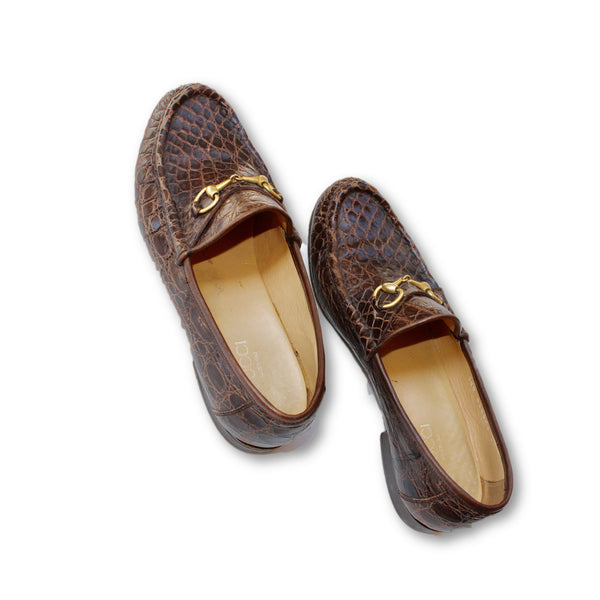 Vintage Brown 1953 Horsebit crocodile loafers - wardrobecult