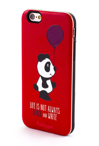 """Black and White' Panda Quote iPhone Case"