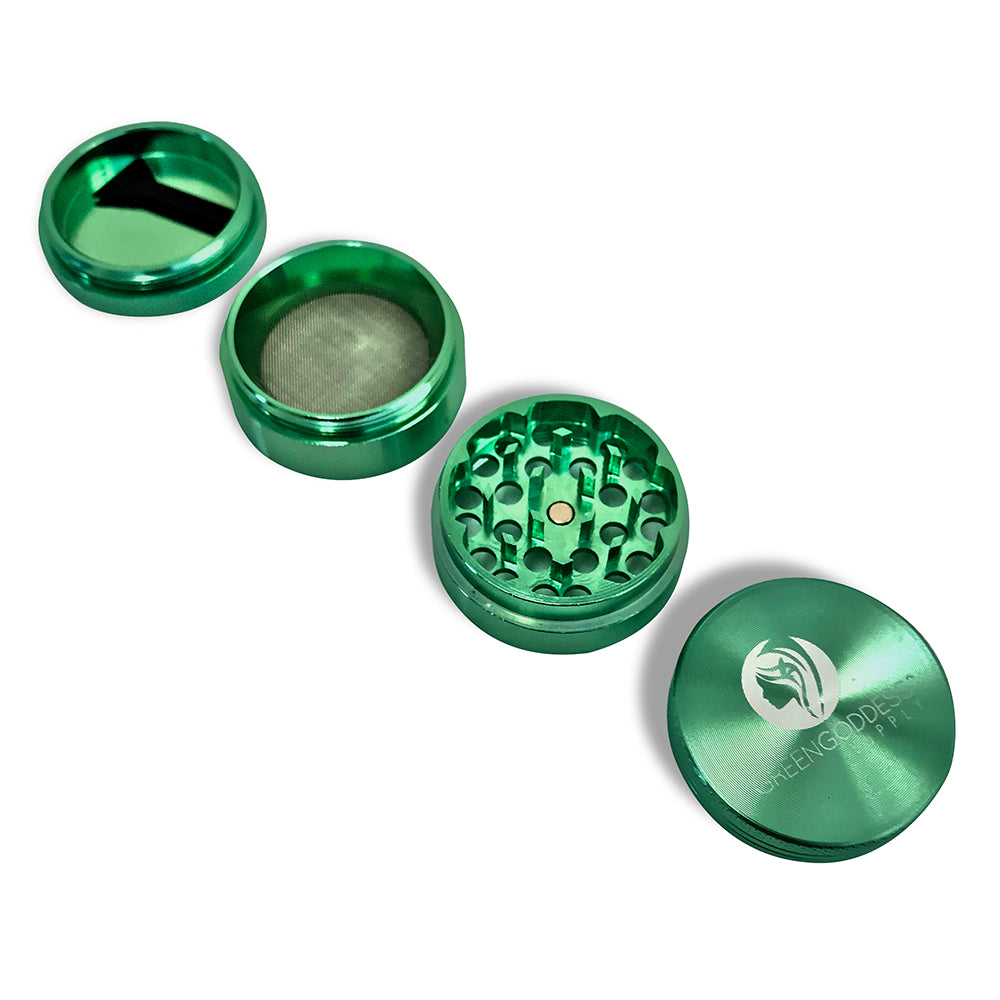 1.5 inch 4-Piece Aluminum Grinder - Green - Green Goddess Supply