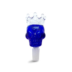 14mm Male Blue Skull Crown Herb Holder - Green Goddess Supply