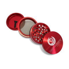 "2.5"" 4-Piece Aluminum Grinder - Red - Green Goddess Supply"