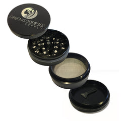 2.5 inch 4-Piece Aluminum Grinder - Black - Green Goddess Supply