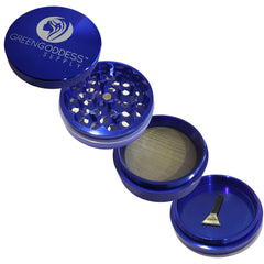 2.5 inch 4-Piece Aluminum Grinder - Blue - Green Goddess Supply