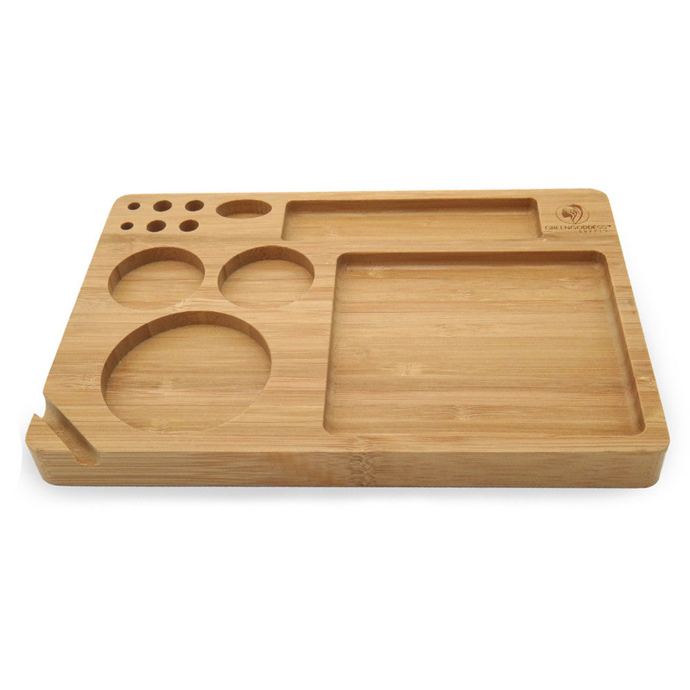 "Bamboo Rolling Tray (9"" x 6"") - Green Goddess Supply"