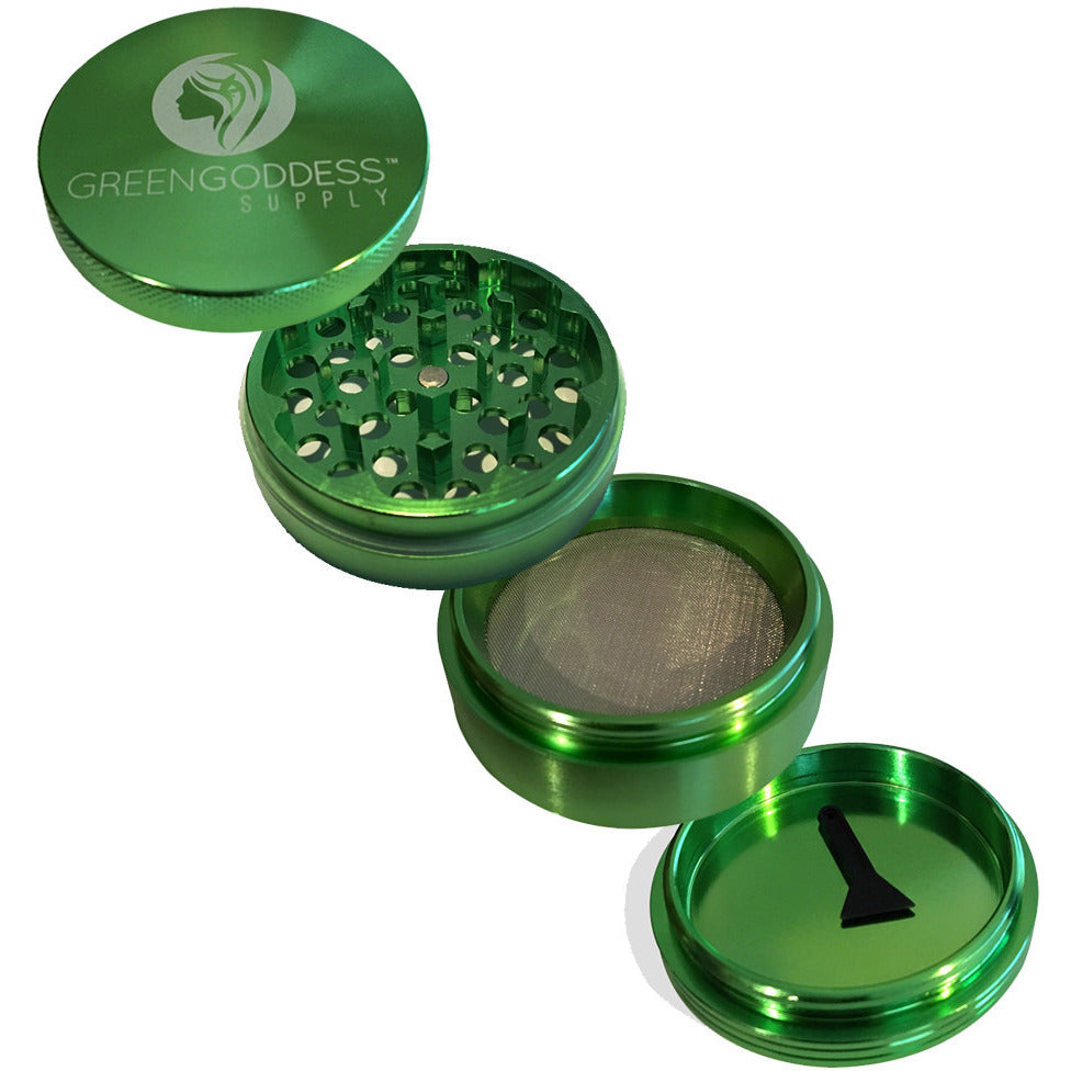 2.5 inch 4-Piece Aluminum Grinder - Green - Green Goddess Supply
