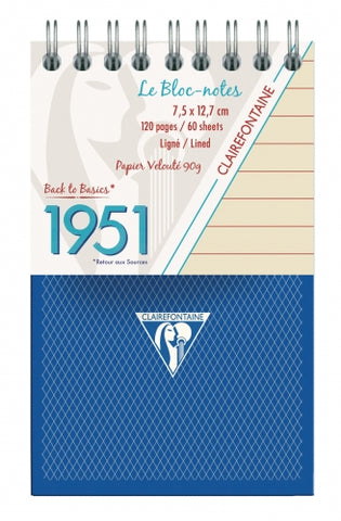 Clairefontaine 1951 Collection Top Wirebound Lined Notepad - (64 sheets)