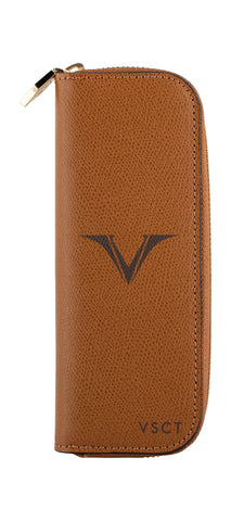 Visconti VSCT Leather 2 Pen Case - Cognac