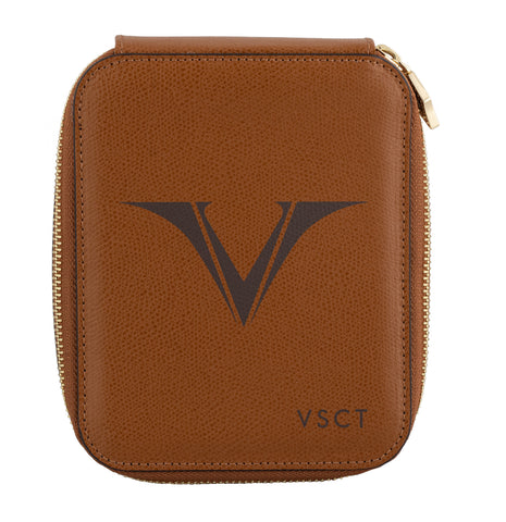 Visconti VSCT Leather 6 Pen Case - Cognac