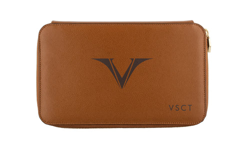 Visconti VSCT Leather 12 Pen Case - Cognac
