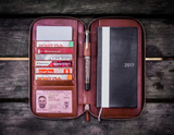 Galen Leather Zippered Hobonichi Weeks Cover - Brown