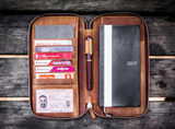 Galen Leather Zippered Hobonichi Weeks Cover - Crazy Horse Brown