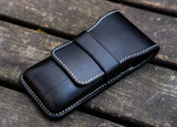 Galen Leather Three Pen Case - Black