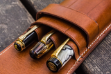 Galen Leather Three Pen Case - Brown