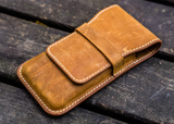 Galen Leather Three Pen Case - Crazy Horse Brown