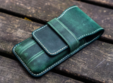 Galen Leather Three Pen Case - Crazy Horse Forest Green
