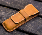 Galen Leather Two Pen Case - Crazy Horse Brown