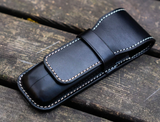 Galen Leather Two Pen Case - Black