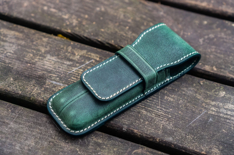 Galen Leather Two Pen Case - Crazy Horse Forest Green