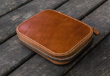 Galen Leather Zippered 10 Pen Case - Brown