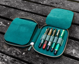 Galen Leather Zippered 10 Pen Case - Crazy Horse Forest Green