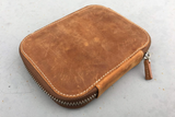 Galen Leather Zippered 10 Pen Case - Crazy Horse Brown