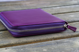 Galen Leather Zippered 5 Pen Case - Purple