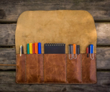 Galen Leather Pen & Tool Roll - Rustic Brown