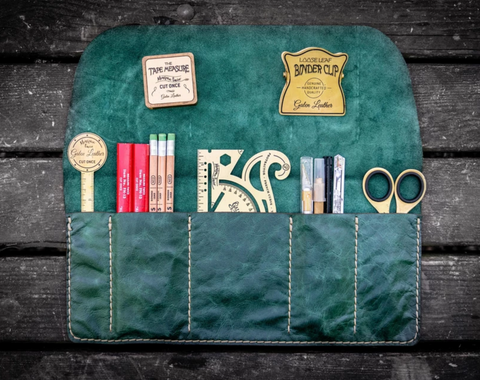 Galen Leather Pen & Tool Roll - Rustic Green