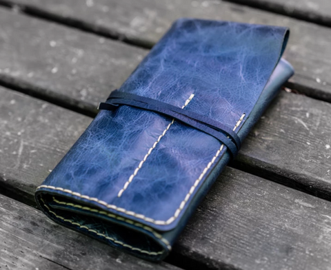 Galen Leather Pen & Tool Roll - Rustic Navy