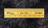 Galen Leather Brass Ruler - Imperial & Metric