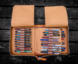 Galen Leather 40 Pen Zippered Case - Crazy Horse Brown